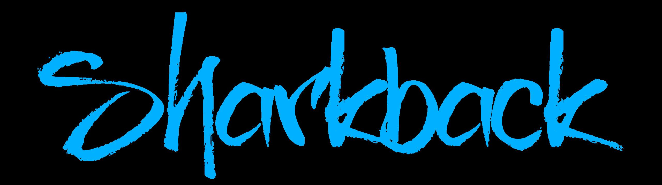 Texte du logo SHARKBACK en bleu